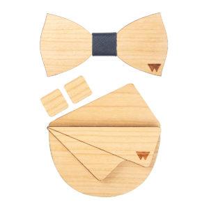 Kit natural ciliegio, di Woodillon, comprende papillon, gemelli e pochette