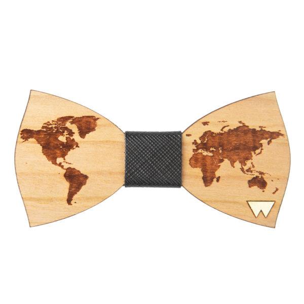 Papillon in legno World, in legno con nodo di ciliegio, marcato Woodillon