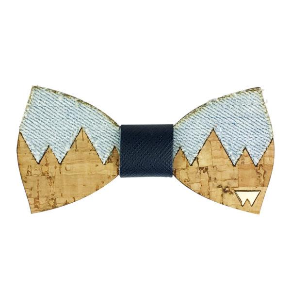 Papillon in legno Nanga Parbat, e sughero con dettaglio in tessuto di jeans, marcato Woodillon