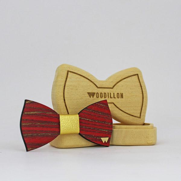 Papillon in legno Baudelaire ricomposto alpi con nodo in pelle, marcato Woodillon