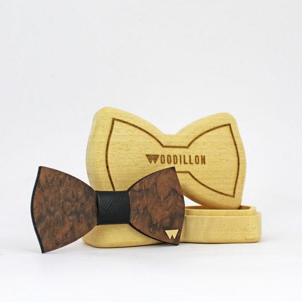 Papillon in legno, Churchill, radica di noce, con nodo in pelle di vitello, marchiato Woodillon