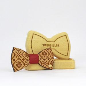 Papillon in legno Herman, in legno di ciliegio con nodo in pelle di vitello, marchiato Woodillon