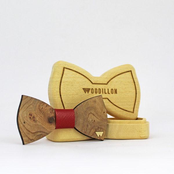Papillon in legno Lincoln, radica di olmo, con nodo in pelle di vitello, marcato Woodillon