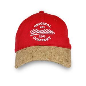 WOODILLON - Cappellino jeans rosso con visiere in sughero Unisex